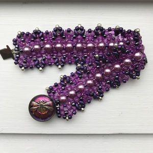 Woven bead bracelet w/ Czech glass dragonfly clasp